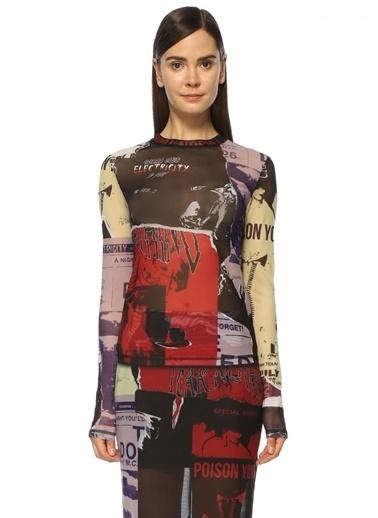McQ Alexander McQueen Yazılı Tül Bluz Renkli